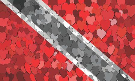 Trinidad and Tobago flag made of hearts background - Illustration Ilustrace