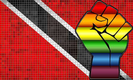 Shiny LGBT Protest Fist on a Trinidad and Tobago Flag - Illustration,  Abstract Shiny Trinidad and Tobago and Gay flags