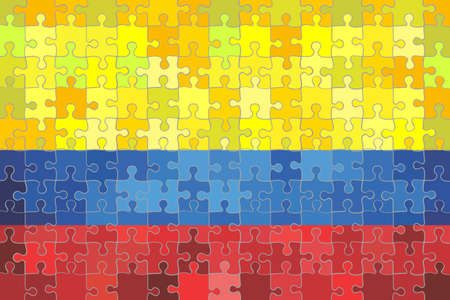 Colombia flag made of puzzle background - Illustration Çizim