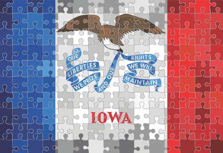 Iowa flag made of puzzle background - Illustration