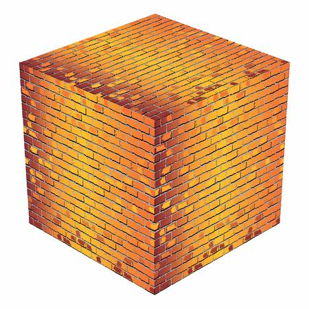 A cube made of orange bricks - Illustration,  Orange abstract vector illustration Çizim