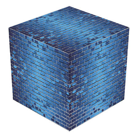A cube made of blue bricks - Illustration,  Azure abstract vector illustration
