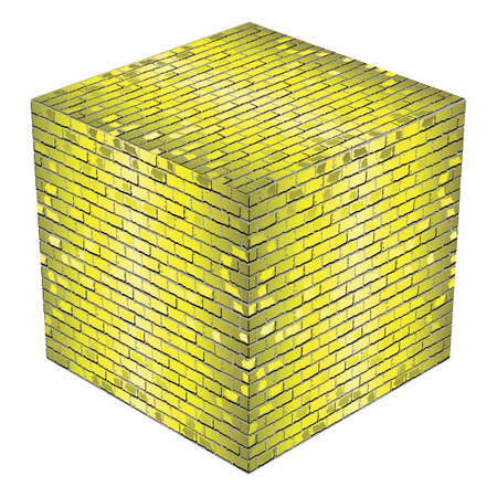 A cube made of yellow bricks - Illustration,  Yellow abstract vector illustration