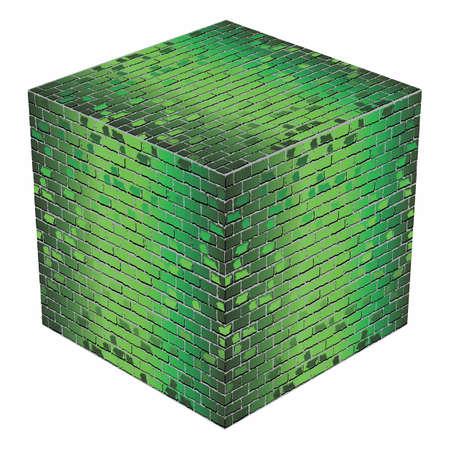 A cube made of green bricks - Illustration,  Green abstract vector illustration
