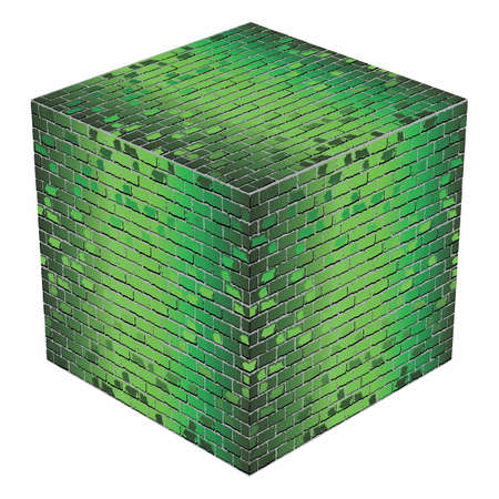 A cube made of green bricks - Illustration,  Green abstract vector illustration