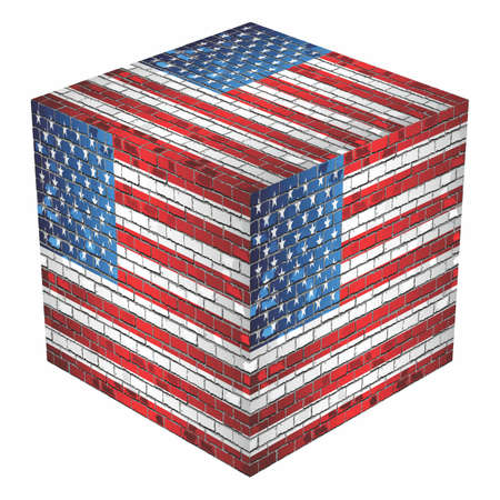 USA Cube in made of bricks - Illustration Illustration