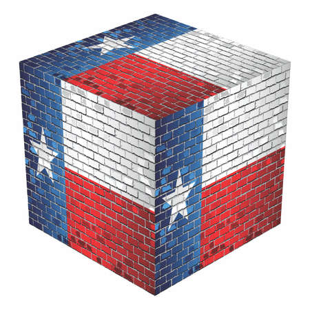 Texas Cube in made of bricks - Illustration