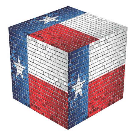 Texas Cube in made of bricks - Illustration