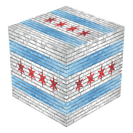 Chicago Cube in made of bricks - Illustration