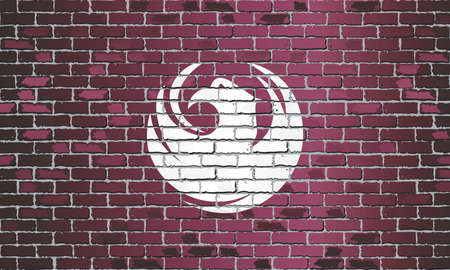 Shiny flag of Phoenix on a brick wall - Illustration, Abstract grunge vector background