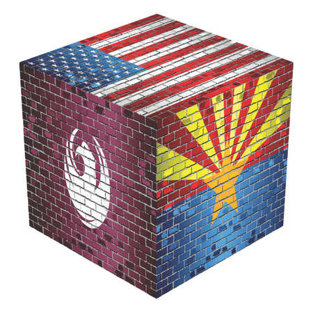 Phoenix Cube in made of bricks - Illustration,  flag of Arizona on a brick wall,  Abstract flag of USA