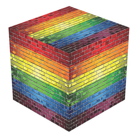 Gay pride Cube in made of bricks - Illustration Illustration