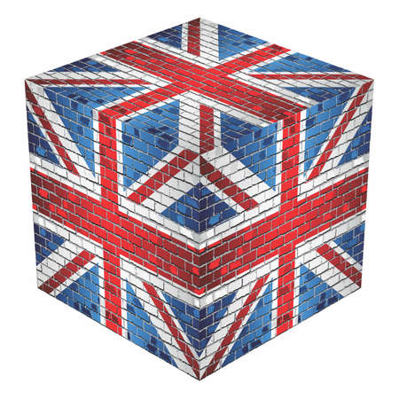United Kingdom Cube in made of bricks - Illustration