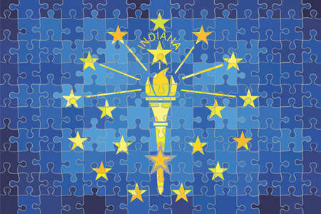 Indiana flag made of puzzle background - Illustration