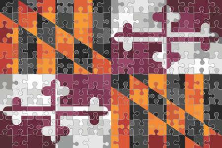 Maryland flag made of puzzle background - Illustration Stock Illustratie