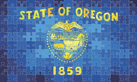 Oregon flag made of puzzle background - Illustration