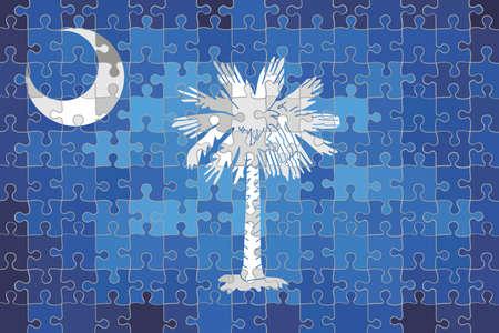 South Carolina flag made of puzzle background - Illustration