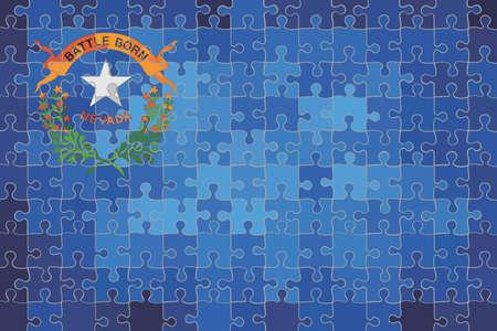 Nevada flag made of puzzle background - Illustration Stock Illustratie