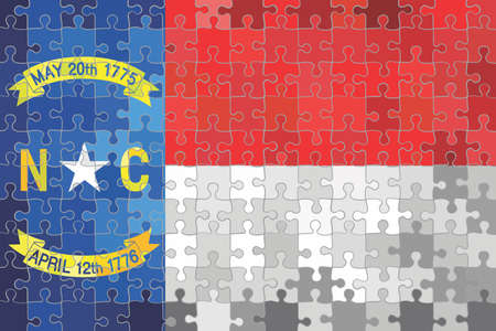 North Carolina flag made of puzzle background - Illustration