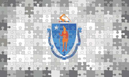 Massachusetts flag made of puzzle background - Illustration