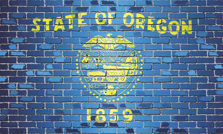 Shiny flag of Oregon on a brick wall - Illustration, Abstract grunge vector background Stock Illustratie