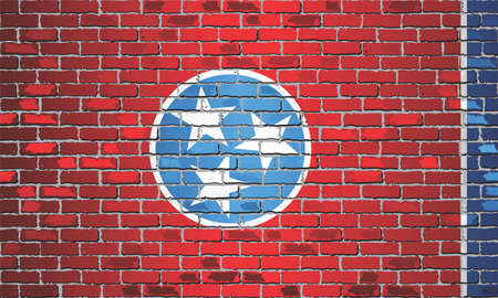 Shiny flag of Tennessee on a brick wall - Illustration, Abstract grunge vector background
