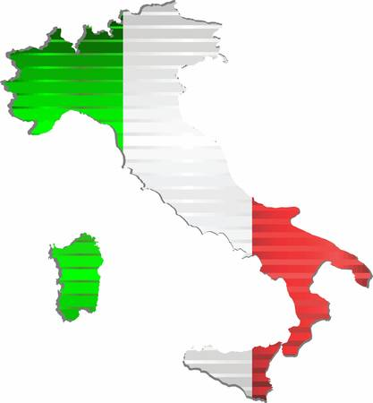 Shiny Grunge map of the Italy - Illustration, Three Dimensional Map of Italy