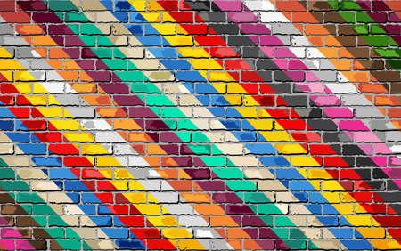 Multi color Brick Wall Background - Illustration, Brick texture background Vector Illustratie