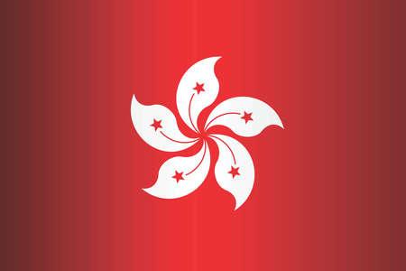Shiny flag of the Hong Kong - Illustration,  Three dimensional flag of Hong Kong Illustration