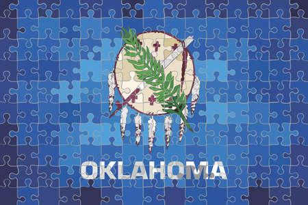 Oklahoma flag made of puzzle background - Illustration