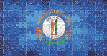 Kentucky flag made of puzzle background - Illustration Illustration