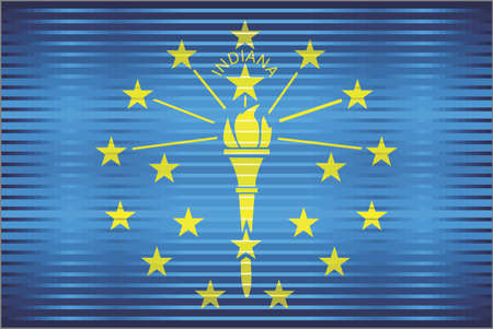 Shiny Grunge flag of the Indiana - Illustration,  Three dimensional flag of Indiana