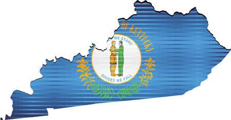 Shiny Grunge map of the Kentucky - Illustration,  Three Dimensional Map of Kentucky Illustration