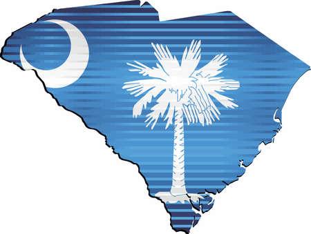 Shiny Grunge map of the South Carolina - Illustration,  Three Dimensional Map of South Carolina