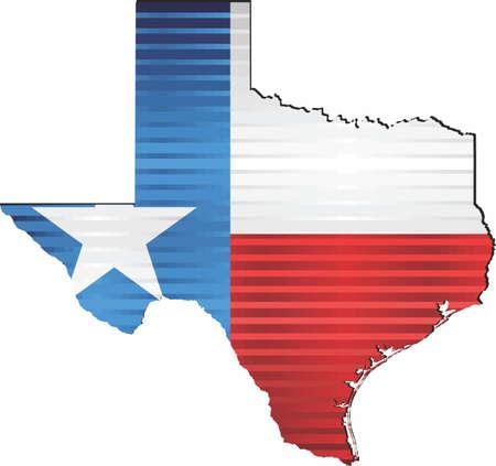 Shiny Grunge map of the Texas - Illustration,  Three Dimensional Map of Texas Illustration