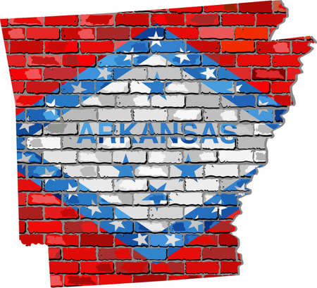 Arkansas map on a brick wall - Illustration,   The state of Arkansas map with flag inside