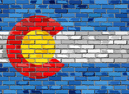 Colorado map on a brick wall - Illustration,   The state of Colorado map with flag inside