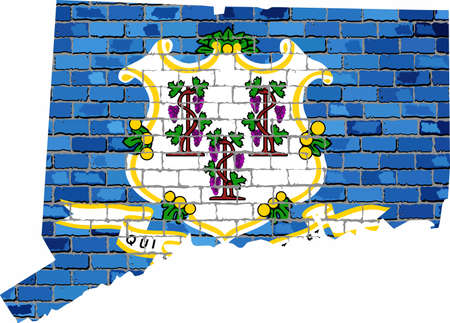 Connecticut map on a brick wall - Illustration,   The state of Connecticut map with flag inside