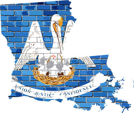 Louisiana map on a brick wall - Illustration,   The state of Louisiana map with flag inside Иллюстрация
