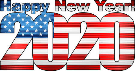 Frohes neues Jahr 2020 mit USA-Flagge im Inneren - Illustration, 2020 HAPPY NEW YEAR NUMERALS, 2020 USA American Flag Numbers