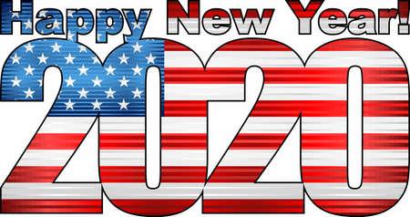 Happy New Year 2020 with USA flag inside - Illustration, 2020 HAPPY NEW YEAR NUMERALS,  2020 USA American Flag Numbers Illusztráció