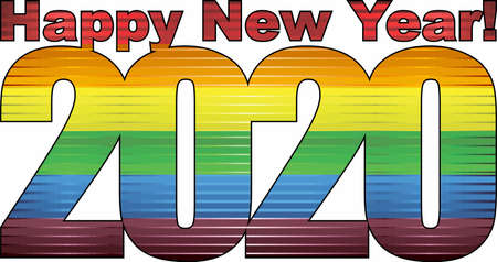 Happy New Year 2020 with LGBT flag inside - Illustration, 2020 HAPPY NEW YEAR NUMERALS,  2020 Rainbow flag Numbers