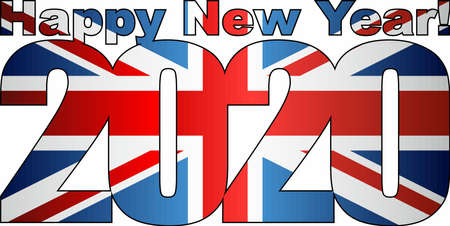 Happy New Year 2020 with United Kingdom flag inside - Illustration, 2020 HAPPY NEW YEAR NUMERALS,  2020 Great Britain Flag Numbers
