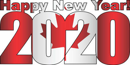 Happy New Year 2020 with Canada flag inside - Illustration, 2020 HAPPY NEW YEAR NUMERALS, 2020 Canada Flag Numbers