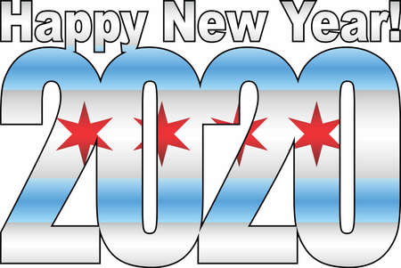 Happy New Year 2020 with Chicago flag inside - Illustration, 2020 HAPPY NEW YEAR NUMERALS, 2020 Chicago Flag Numbers