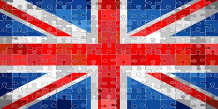 United Kingdom flag made of puzzle background - Illustration