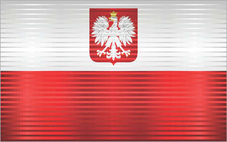 Shiny Grunge flag of the Poland - Illustration,  Three dimensional flag of Poland