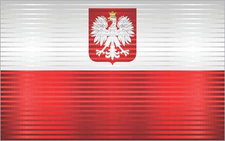 Shiny Grunge flag of the Poland - Illustration,  Three dimensional flag of Poland