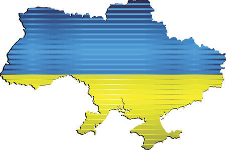 Shiny Grunge map of the Ukraine - Illustration,  Three Dimensional Map of Ukraine