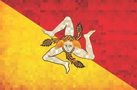 Grunge mosaic Flag of Sicily - illustration, The head of the Gorgon Medusa